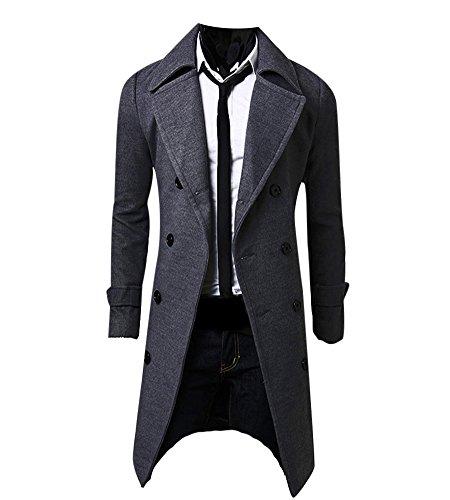 MISSMAO Hombres Abrigo de Invierno Slim Elegante Trench Coat Double Breasted Chaqueta Larga Parka Gabardina Gris S