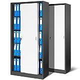 2er Set Büroschrank SD001, Aktenschrank mit Schiebetüren, abschließbar, Farbwahl, 185 cm x 90 cm x 40 cm (H x B x T) (anthrazit/weiß)