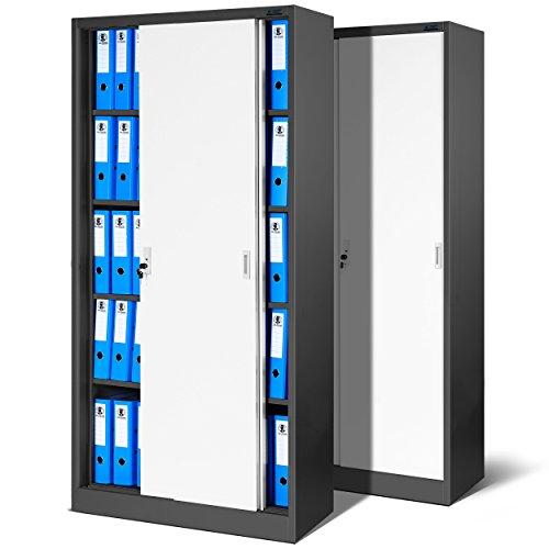 2er Set Büroschrank SD001, Aktenschrank mit Schiebetüren, abschließbar, Farbwahl, 185 cm x 90 cm...