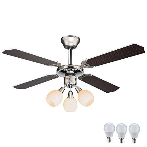 Disegno 9 W soffitto ventilatore 3 lampada cromo vetro opale set include LED lampadine