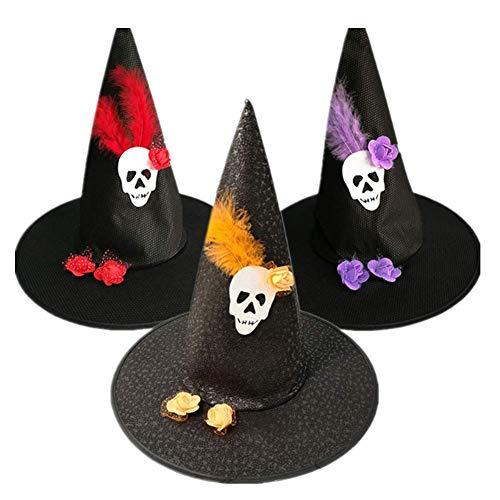 Halloween-Kostüm, 3-teilig, Hexenhut, Cosplay,