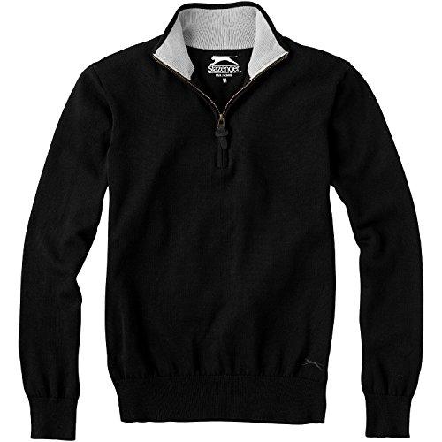 SLAZENGER Set Quarter Zip Pullover tiefschwarz/heather grau
