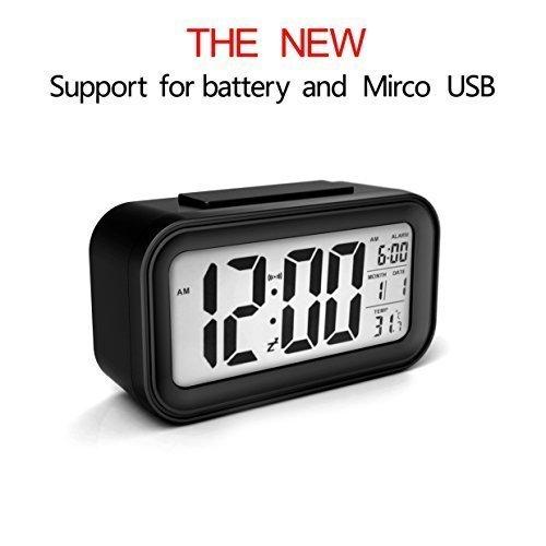 Wecker USB Ladegerät Digital Uhr Snooze Datum Temperaturanzeige mit Hintergrundbeleuchtung schwarz