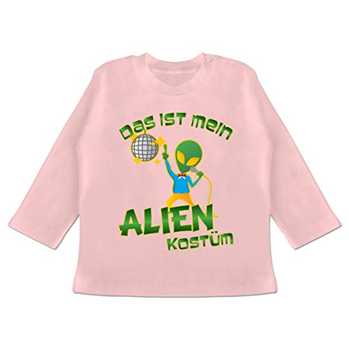 Karneval und Fasching Baby - Das ist Mein Alien Kostüm Disco - 12-18 Monate - Babyrosa - BZ11 - Baby T-Shirt Langarm