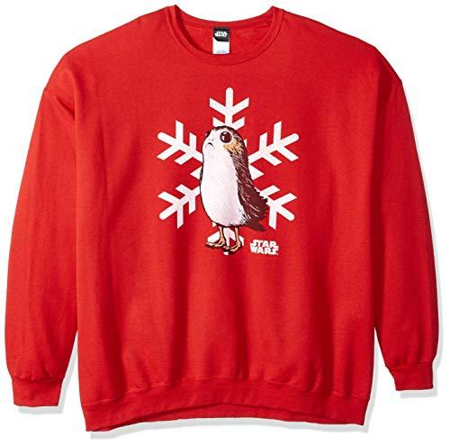Star Wars Herren Officially Licensed PORG Snowflake Crew Fleece T-Shirt, Red, Groß Star Wars Chewbacca Fleece