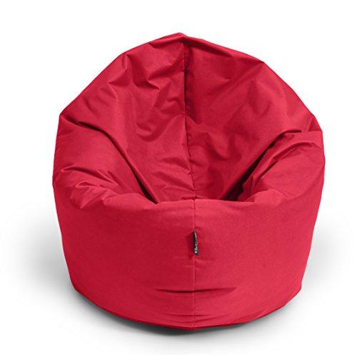Sitzsack BuBiBag 2-in-1 Funktionen mit Füllung Sitzkissen Bodenkissen Kissen Sessel BeanBag (125cm durchmesser, rot)