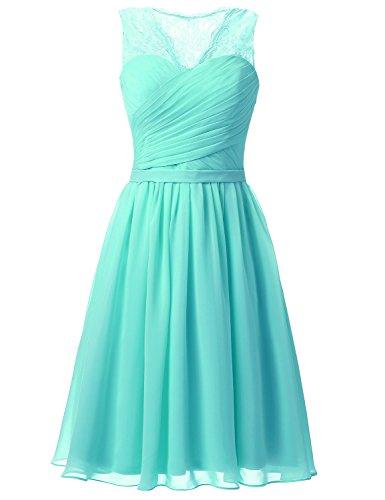*Sarahbridal Damen Mini Chiffon Ballkleid Herzenform Abendkleider  Faltenrock Abschlussballkleider SSD358 Turquoise EU34