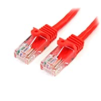 StarTech.com Cat5e Ethernet Cable - 2 ft - Red- Patch Cable - Snagless Cat5e Cable - Short Network Cable - Ethernet Cord - Cat 5e Cable - 2ft