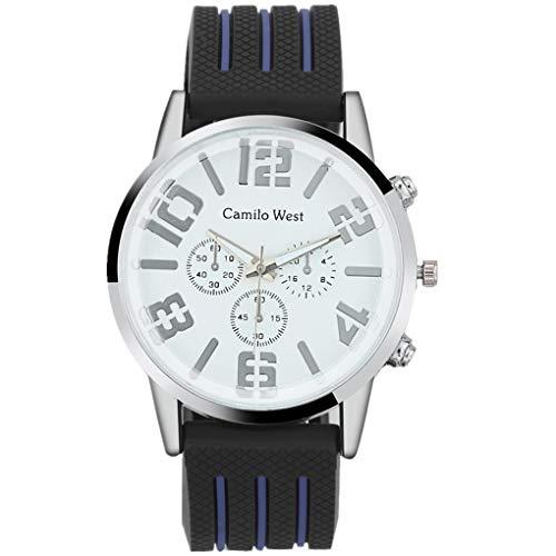 Armband für Herren/Skxinn Männer Silikon Uhrenarmband,Mode Outdoor Sportuhr,Drei-Augen-Zifferblatt Herrenuhr Ausverkauf(Blau)