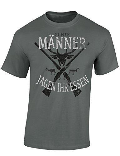 Baddery Jäger T-Shirt: Echte Männer Jagen Ihr Essen - Geschenkidee für Jäger - Geschenke - Jägerbekleidung (L) Zinkgrau