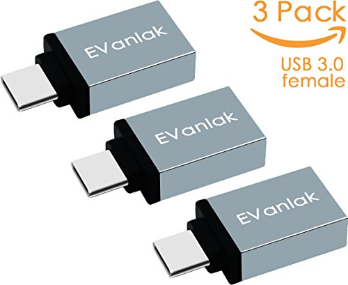 Price comparison product image USB Type C Adapter 3 Pack,  EVanlak USB 3.0 A to C Adapter for Galaxy S8 S8+,  Macbook Pro 2016,  Nintendo Switch,  Sony XZ,  LG G5,  Pixel,  Nexus 6P 5X and More (Grey -3 Pack)