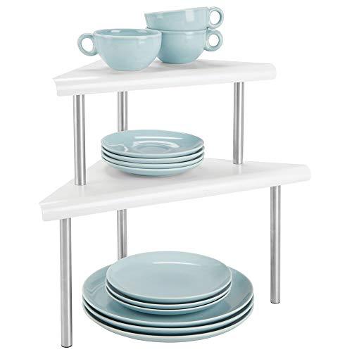 mDesign Mensole porta piatti a 2 ripiani - Ripiano angolare per armadietti e bancone - Scolapiatti da appoggio in metallo e acciaio - bianco opaco e argento opaco