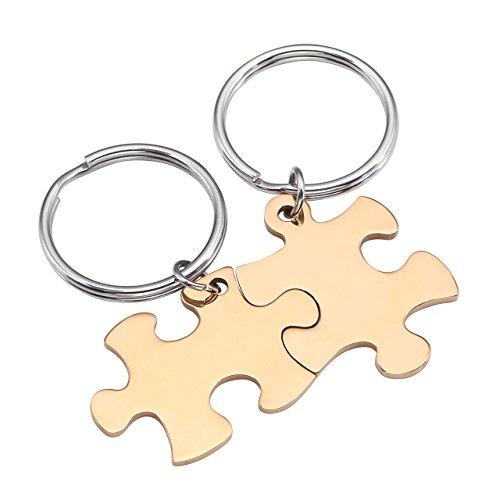 BOPREINA Personalized Gravur 2X Edelstahl 33*22mm Zwei Puzzle Schlüsselanhänger Partner Paare Liebe Freundschaft Schlüsselbund Schlüsselring Keychain (Rosegold, Non-Gravur)