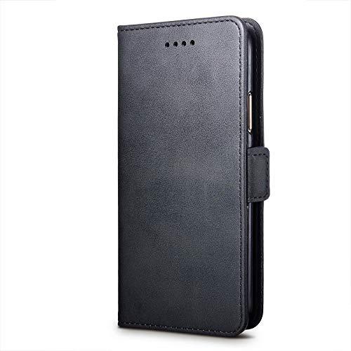 cookaR ZTE Axon 10 Pro 5G Handy Hülle Tasche Flip Case Kredit Karten Fach Geldklammer Leder Handy Schutzhülle Unsichtbar Magnet Verschluss Standfunktion,Schwarz