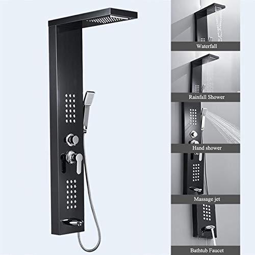 HSer 5 in1 Duschpaneel aus Edelstahl, Duschsystem mit Wasserfall Regendusche Handbrause Massagedüse Badewannenarmatur,Schwarz