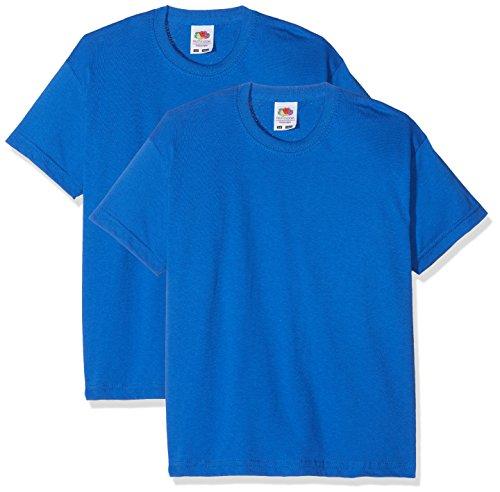 Fruit of the Loom Jungen T-Shirt Kids Valueweight Short Sleeve T 2 Pack, 2er Pack, Blau (Royal Blue Royal Blue), 3-4 Jahre