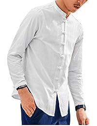 Herren Langarm Leinen Hemd Fischerhemd Kurtha Uni Überzieher Freshrunk  Baumwolle Button-Down Freizeit Hemden Freizeit c44f83b300