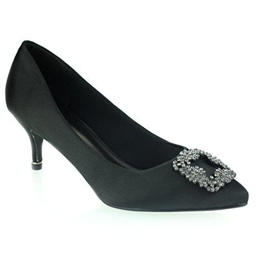 Femmes Dames Broche Détail Orteil d'amande Diamante Pointu Kitten Heel Soir Fête De Mariée Bal de Promo Courts Chaussures Taille Noir