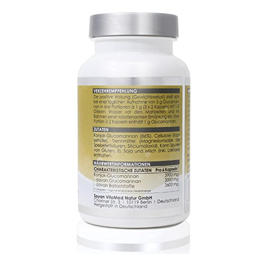 41qa2n3tKOL - LINEAVI Glucomannan • 3000 mg glucomannan • plant fiber from the konjac root, which supports weight loss • satiation capsules • made in Germany • 120 capsules
