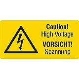 Labelident Warnaufkleber - Warnung elektrische Spannung - 38 x 19 mm - 100 selbstklebende Warnzeichen aus Vinyl Folie, selbstklebend