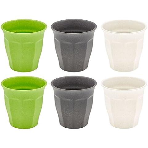 Magu Bere Mug Set di 6 310 ml di bambù e mais, impilabile, 3 colori pastello colorato, utilizzato come bicchieri d'acqua, bicchieri di whisky, bicchieri tumbler, disegno naturale, biodegradabile