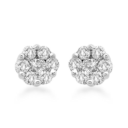 Carissima Gold Damen-Ohrringe 375 Weißgold Rundschliff Diamant