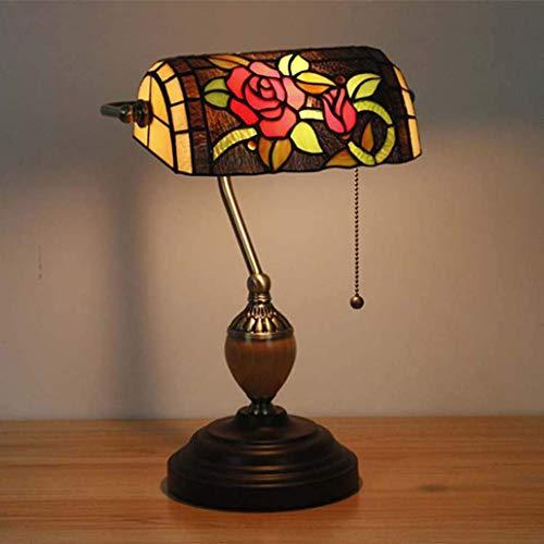 Tiffany Stil Tischlampe Vintage Pastoral Farbe Glas Bank Licht Schlafzimmer Nachttischlampe Art Tischlampe, E27, Max40W * 1,110-240V, BOSS LV, Rose Lv Rosen