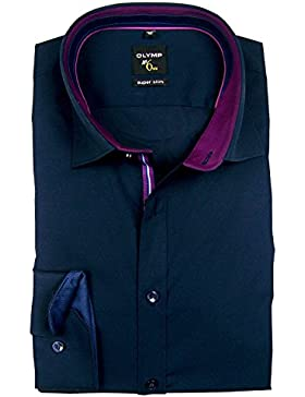 OLYMP No. 6 Six super slim Hemd Comfort Stretch dunkelblau 0493-64-18 Patch violett-dunkelblau