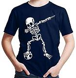 HARIZ  Jungen T-Shirt Dab Skelett mit Fussball Dab Teenager Dance Weihnachten Plus Geschenkkarten Deep Navy Blau 164/14-15 Jahre