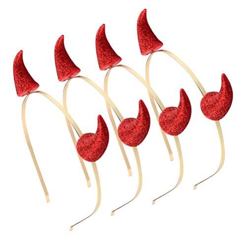 Amosfun 4pcs Hallowen Rot Horn Haarreif Pailletten Teufelshörner Haarband Horn Stirnband Party Cosplay Kostüm Haarscmuck