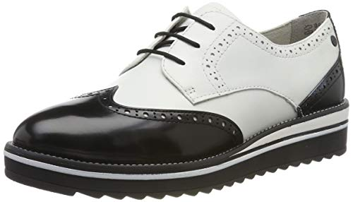 Tamaris 1-1-23729-23, Scarpe Stringate Derby Donna, Bianco (White/Black 125), 39 EU