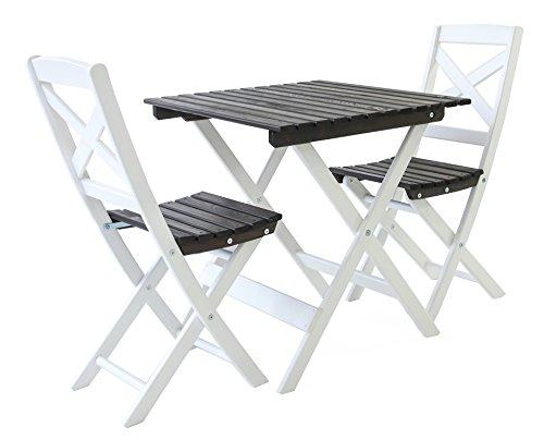 Ambientehome Balkonset Sitzgruppe klappbar Bistroset Lotta, Weiß/Taupegrau, 3-teiliges Set