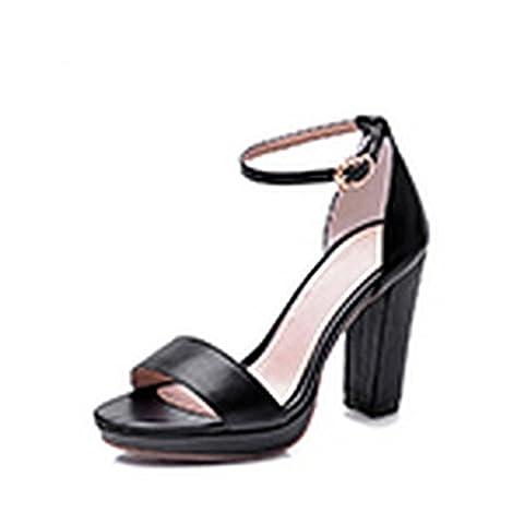 Adee Mesdames Boucle Sandales en cuir robuste - Noir -