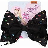 JOJO Siwa Glitter Large Heart-shaped Rainbow Sequins Black Signature Hair Bow