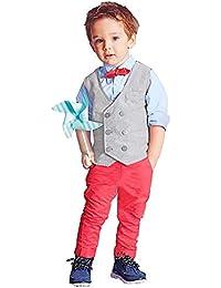 K-youth Ropa Niño, Ropa Bebé Niño Gentleman Pajarita Trajes Camisa + Pantalones Largos + Ropa Chaleco Conjunto 1-7 Años