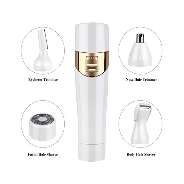 HAIRBY 4 In 1 Women Hair Remover Professional Electric Ladies Shaver Bikini Epilator Multi Grooming Kit With Facial Shaver Body Shaver Nose TrimmerEyebrow Trimmer White