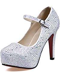 Zapatos de Tacón Alto de Cristal Sexy Plataforma Impermeable Banquete Zapatos de Vestir Zapatos de Novia