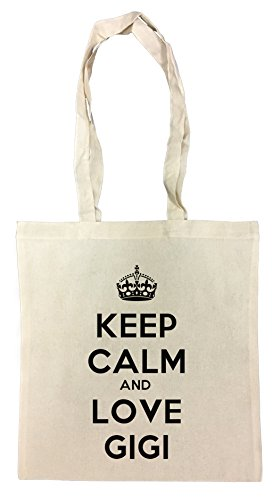 Erido Keep Calm and Love Gigi Einkaufstasche Wiederverwendbar Strand Baumwoll Shopping Bag Beach Reusable