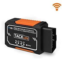 OBD2 wifi ELM327, TACKLIFE-AOBD1W Lector de código de avería para coche, Escáner Diagnóstico del motor, Herramienta Inalámbrica Para iPhone 8/ 8X/ 7/ 7Plus/ iPad, Windows, Android Tableta etc.