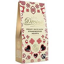 Divina Chocolate Blanco con Fresas Corazones 80g