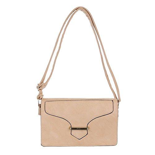 Damen Tasche, Kleine Umhängetasche, Kunstleder, TA-59926 Hellbraun