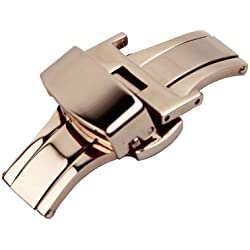RECHERE 14mm Stainless Steel Push Button Butterfly Deployment Clasp For Leather Strap Color Rose Gold
