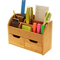 Desk Stationery Organiser Box (or Wall Mounted) Desk Tidy Made of Natural Bamboo