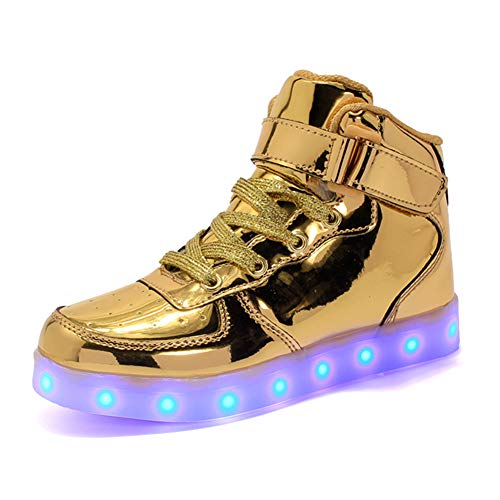 ByBetty Unisex - Cargador USB Superior para Mujer para Hombre Luces LED 7 Colores Zapatillas de Deporte Ilumina Entrenadores Zapatos Parejas Zapatos