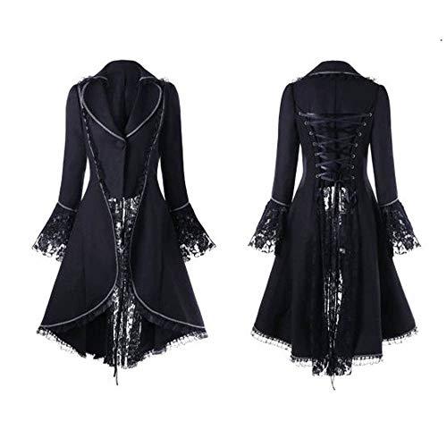 Damen Steampunk Gothic Long Coat,Dasongff Mantel Retro Samt-Frack Jacke Barock Punk Steampunk Vintage Viktorianischen Langer Kostüm Cosplay Kostüm Smoking Uniform