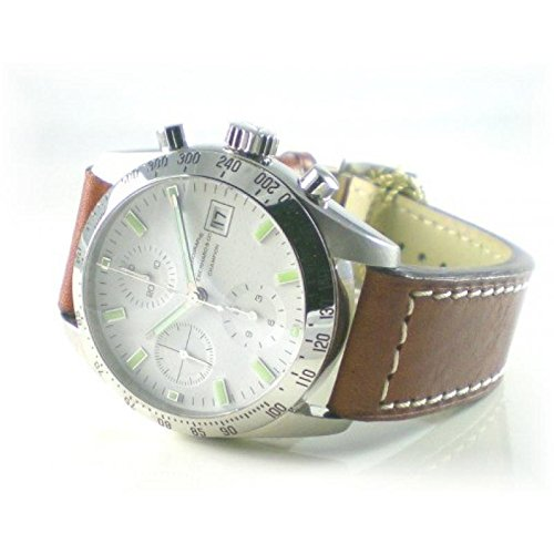 Men Eberhard 31044CP Breaker quandrante Steel White Leather Strap Watch