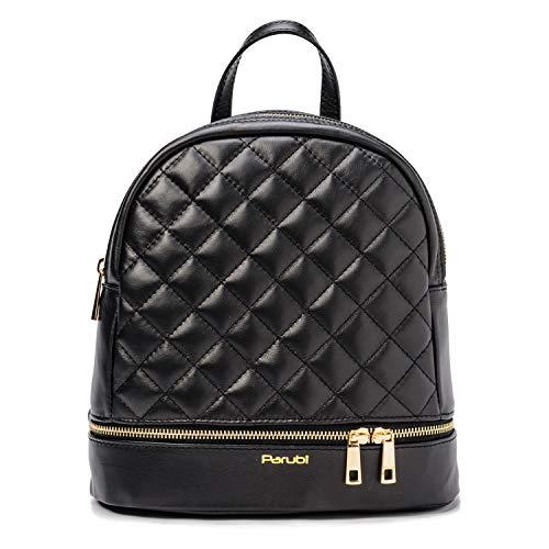 Parubi, Damenrucksack aus echtem Sauvage-Leder, gesteppt, Made in Italy, Modell Clea, weiche Gesteppte Rucksack-Tasche, Leichter Rucksack Hand- und Schultertasche, Damen, Mädchen, elegant, Schwarz -