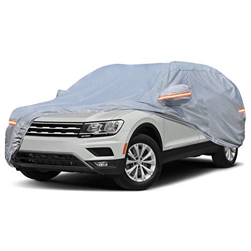NOVSIGHT Autoabdeckung Vollgarage Abdeckplane Car Cover Phosphoreszierend/Schmutzabweisend/Staubdicht/Wasserdicht/Winter & Sommer für Tiguan