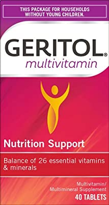 Geritol Multi-Vitamin Nutritional Support Tablets, Balance of 26 essential vitamins and minerals, 40-Count from Geritol