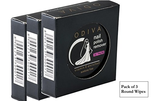 Odiva Nail Polish Remover Wipes Round (3 Packs of 30 Pads) - Removes nail paint color of lakme, revlon, odiva, maybelline, colorama, lotus herbal, zoya, sally hansen, dior and more